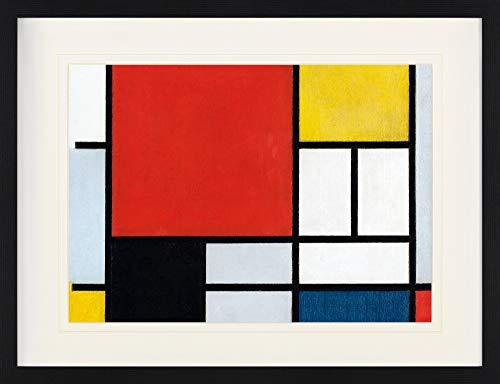 1art1 Piet Mondrian - Komposition Mit Großer Roter Fläche, 1921 Gerahmtes Bild Mit Edlem Passepartout   Wand-Bilder   Kunstdruck Poster Im Bilderrahmen 80 x 60 cm