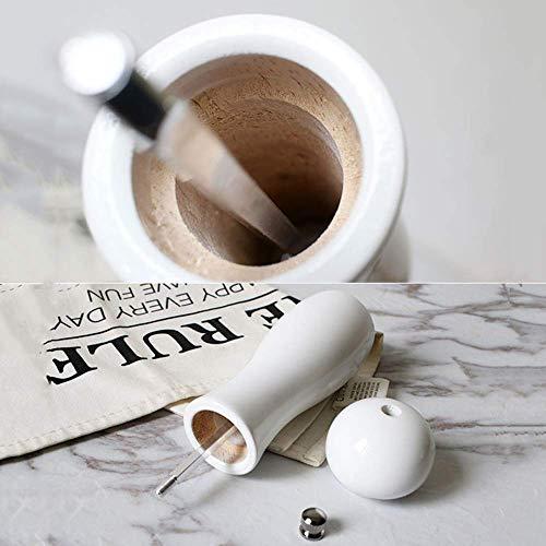 XQKQ Herramienta de molienda para Taladro, Molinillo de Sal y Pimienta Juego de Molino de cerámica Rotor de cerámica Molinillo de Pimienta de Madera Profesional Molinillo de Sal, Madera de cauch