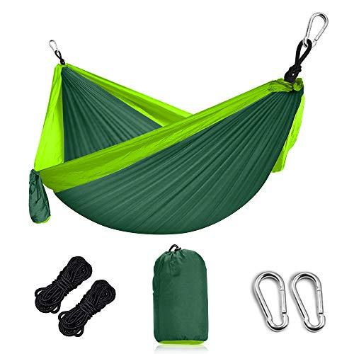 Grassman Hängematte Outdoor Ultraleichte Camping Hängematte mit Baumgurten und Karabiner, Ripstop-Nylon Fallschirm Reise Hängematten, bis 300 kg balastbar, 275 x 140cm
