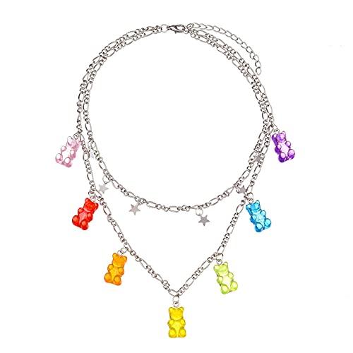 YHFJB 7 colores bonitos y coloridos ositos de gominola collar elegante morden sencillo colgante de resina collar diminuto animal colgante colgante para mujeres y niñas