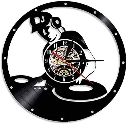 GONGFF Mezclador Moderno Reloj de grabación Mudo decoración de la Sala de música electrónica Canto de música Carreras de Caballos Mezclador Tocadiscos Reloj de Pared de Vinilo