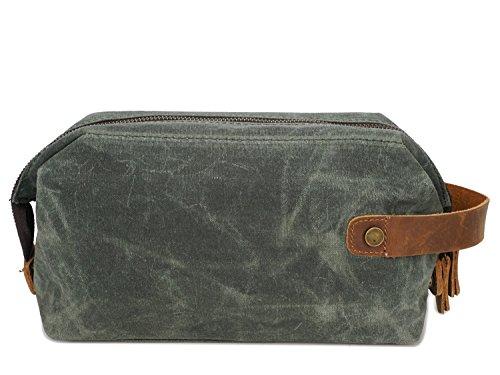 Bolsa Vintage Bolsa de Embrague for Hombre Bolsa de Lavado de Lona con Aceite Encerado Bolsa de cosméticos Retro Bolsa de Pulsera de Cuero de Primera Capa Crossbody Bolsa (Color : Bronze, Size : S)
