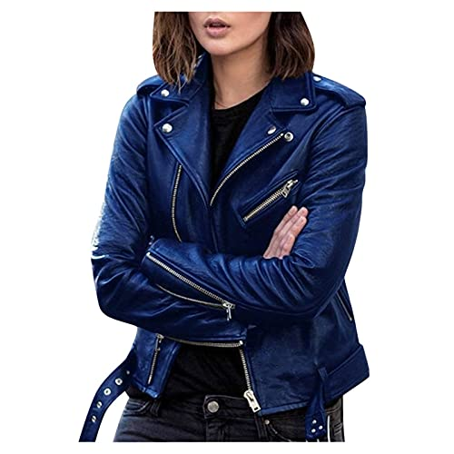 Jacket for Women's Faux Leather Cool Cropped Coat Fashion Fall Long Sleeve Zipper Slim Fitted Short Coat Jacket Blue