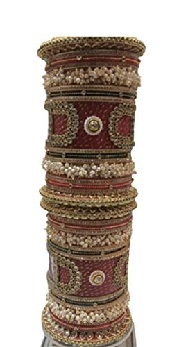 Este juego de pulseras Rajasthani Rajputi Chuda/Choora / Brazalete perfecto para bodas, recepciones, ceremonia de anillo
