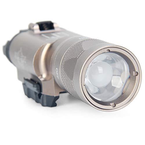 Element airsoft U300V - Linterna militar táctica con función estroboscópica, 300 lúmenes, LED CREE XPG-R5, alcance de iluminación 160 m, compatible con rieles Picatinny y Glock(desierto)