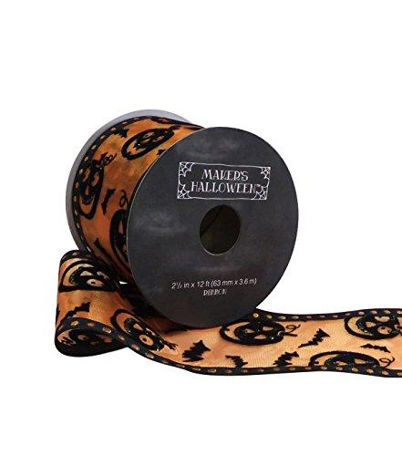 Maker's Halloween Ribbon 2.5' x 12' Black Jack-o-Lantern on Orange Wired Edge