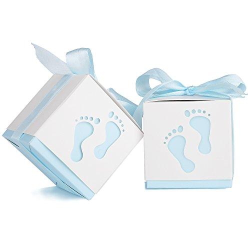 YISSVIC 100Pz Scatoline Portaconfetti Scatole Bomboniere Scatole Portaconfetti con 100 x Nastri per Anniversario di Matrimonio Battesimo Compleanno ECC-Azzurro