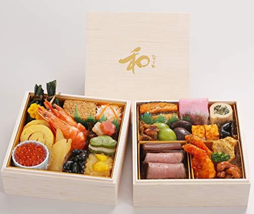 北海道 北のシェフ 和洋中 おせち料理 2021 和 二段重 27品 一人前 盛り付け済み 冷凍おせち お届け日:12月30日