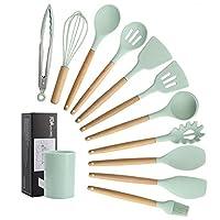 Photo Gallery juyilsu 12 pezzi set utensili da cucina in silicon,utensile da cucina resistente al calore antiaderente antigraffio con manico (colore verde)