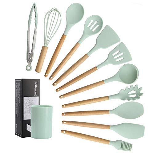 JUYILSU 12 Pezzi Set Utensili da Cucina in Silicon,Utensile da Cucina Resistente al Calore Antiaderente AntiGraffio con Manico (Colore Verde)