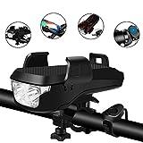 DONWELL Phare avant de vélo à LED rechargeable par USB, étanche et super lumineux avec support pour téléphone et batterie externe, 3 modes de vélo, Noir