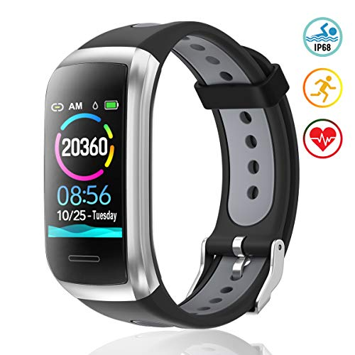 TagoBee TB14 Pulsera Actividad Fitness Trackers IP68 Waterproof Smart Band 1.14\'\' LCD Color Screen Sport Smart Brazalete con Monitor de frecuencia cardíaca Compatible con Android e iOS (Silver)