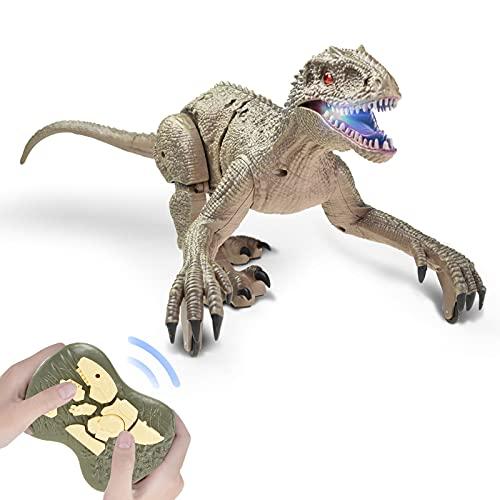 Sunydog Realistisk dinosaurie fjärrkontroll dinosaurie velociraptor leksak stor promenad velociraptor LED ljus Bollar 2,4 GHz simulering RC velociraptor present för barn pojkar