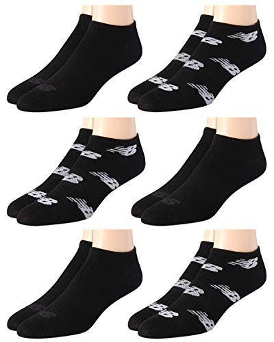 'New Balance Men's Breathable Lightweight Low Cut Socks (6 Pack), Black Logo, Size Shoe Size: 6-12.5'