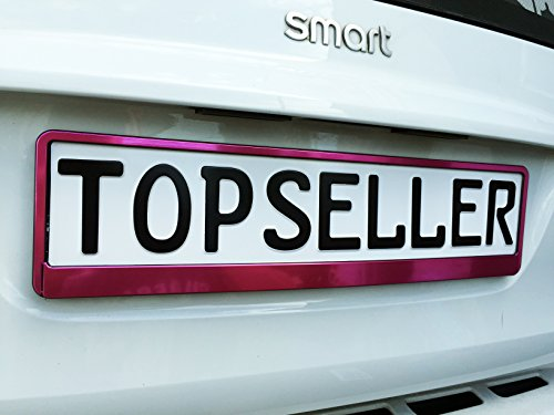 Warenfux24 2 x Kennzeichenhalter Nummernschildhalter Pink T Chrom Metallic Autozubehör Auto