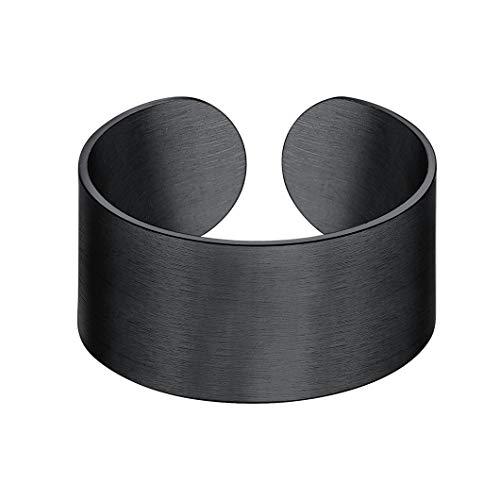 Anello nero Anello da 10mm con fascia larga Polsino Anello per pollice Anello da dito aperto regolabile Adatto per taglia USA 6-12 (taglia EU L1/2-Y) Gioielli placcati neri per uomo Anello semplice