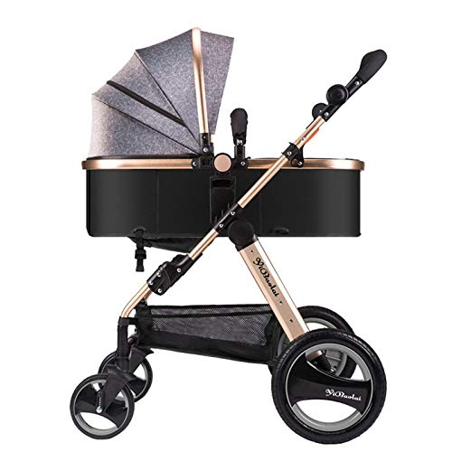 L&WB High Landscape Two Way Baby Stroller kann Lie Ultra Leichtgewicht tragbares Baby-Auto Umbrella Vier Räder,Gray
