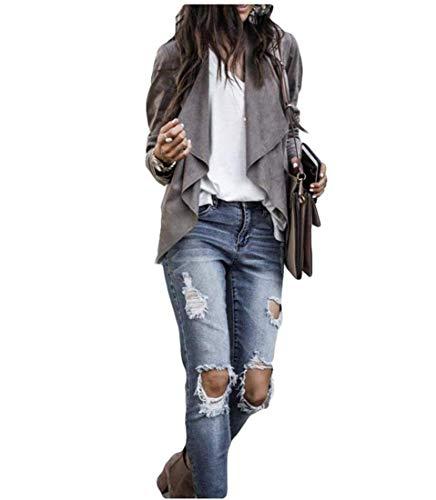 Giacca da donna drappeggiata in finta pelle scamosciata Cardigan Blazer solido cappotto Top Outwear Grigio S