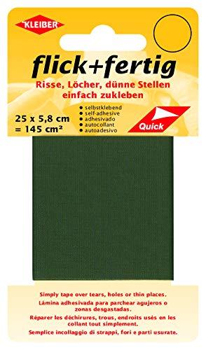 Kleiber 43085 Flick + fertig Selbstklebender Nylon Ausbesserungsflicken, 100% Polyamid, oliv, 25 x 5,8 x 0,02 cm , (145 cm²)