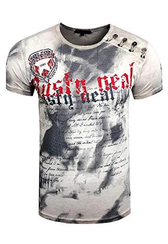 Rusty Neal Batik Herren T-Shirt Front Logo Print Herren Shirt Verwaschen Kurzarm S M L XL XXL 156, Größe:L, Farbe:Grau