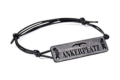 Armband ANKER-PLATZ im Treibholz-Look- maritimes Holz-Armband für Damen & Herren mit Gravur – in edler Geschenk-Box