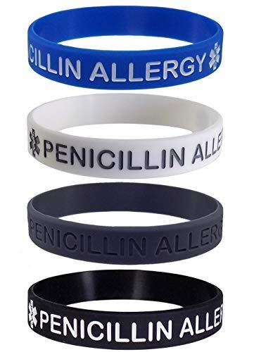 Max Petals Penicillin Allergy Medical Alert ID Silicone Bracelet Wristbands (4 Pack)
