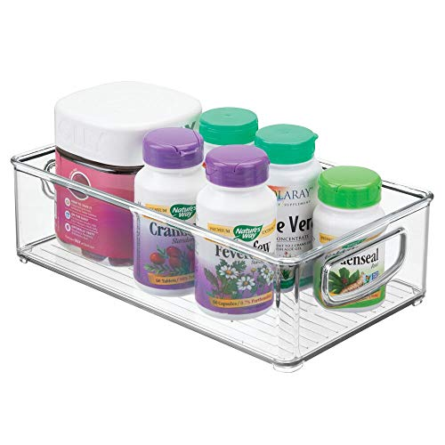 mDesign Stackable Plastic Storage Organizer Container Bin with Handles for Bathroom - Holds Vitamins, Pills, Supplements, Essential Oils, Medical Supplies, First Aid Supplies - 3 High - Clear
