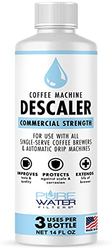 Descaler for Coffee Machines (3 Uses/Bottle) - Made in USA -...