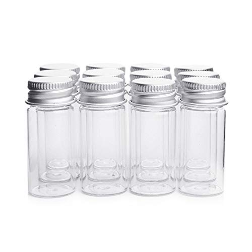 "Danmu 12Pcs 10ml 0.86"" x 1.96"" Mini Glass Bottles, Glass Vials, Mini Bottles, Test Tubes, Glass Jars with Aluminum Screw Caps, Message Bottles for Wedding Favors, Halloween Decorations, Baby Shower Favors, DIY Craft"