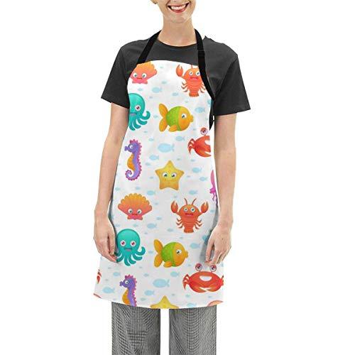 Darlene Ackerman(n) Niedliche Cartoon Tintenfisch Hummer verstellbare Schürze Küche Kochen Soft Chef Lätzchen Schürze für Frauen Handwerk BBQ Zeichnung im Freien