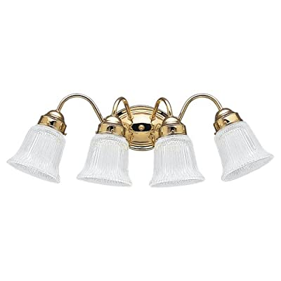 Polished brass vanity lights homey intrigue sea gull lighting 4873 02 bath vanity with clear ribbed glass shades polished brass finish aloadofball Choice Image