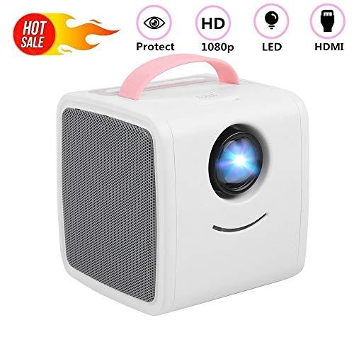 ASHATA Mini Beamer, HD 1080P LED video projector mini multimedia draagbare beamer,home theater projector video beamer cadeau, ondersteuning HDMI USB AV TF voor binnenplaats, reizen Kerstmis
