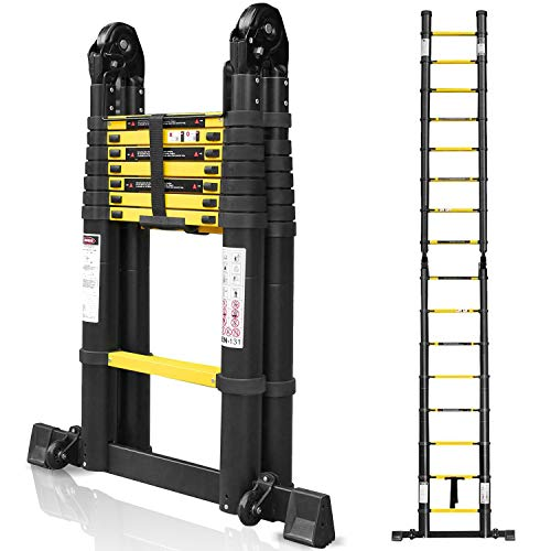 wolktoen 5m Escalera Telescópica de Aluminio Escalera Extensible, Escalera Multipropósito Portátil 2.5+2.5M Escalera Plegable para Trabajo en Interiores y Exteriores Carga Máxima 150 kg
