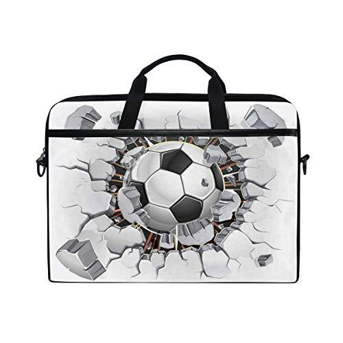 VICAFUCI New 15-15.4 inch Laptop Bag,Shoulder Bag,Handbag,Soccer Ball and Old Plaster Wall Damage Destruction Punching Illustration