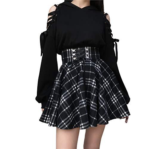 Damen Mini-Faltenrock, kariert, hohe Taille, Gothic-Stil, A-Linie, zum Schnüren