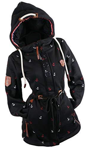 xy Abrigo de mujer con capucha y forro polar cálido Negro XL