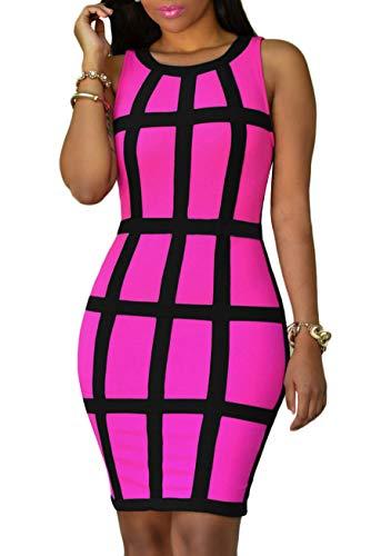 YMING  Damen Rundhalsausschnitt Stretch Skinny Bodycon Partykleid Slim Fit Kleid Neonkleid, S, Rosa