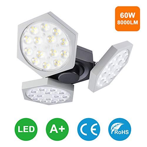 LED Garagenleuchten Verstellbare, Oraymin 60W 8000LM E27 Garagenleuchten Weißes Licht, Garagen lampe 6500K, Garagen lampe mit Effizienten Lichteffekten, für Garage, Korridore, Werkstätte, Lager usw