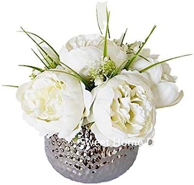 Amazon Com Sweet Home Deco Silk Peony Arrangement In Silver Ceramic Vase Table Flower Home Decor Wedding Centerpiece White Kitchen Dining