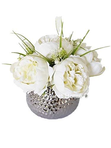 Sweet Home Deco Silk Peony Arrangement in Silver Ceramic Vase Table Flower Home Decor Wedding Centerpiece (White)