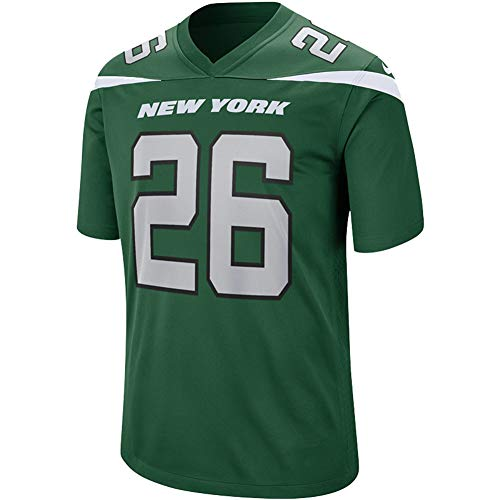 # 26 Le'Veon Bell American Football Trikot New York Jets, Rugby Uniform Fan Version Jugend Fitness Schnelltrocknendes T-Shirt Stickerei Trikot-Green-XL(185~190CM)