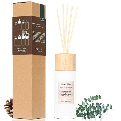 Home Lights Reed Diffuser Gift Set, Wooden Lid, Natural Scented Long Lasting Eucalyptus Cedarwood Fragrance Oil for Office Gift Idea, Aromatherapy Air Freshener and Stress Relief, 200ml/6.76 fl.oz