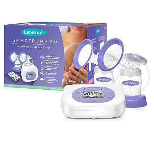 Lansinoh Breast Pump Smartpump 2.0 Double Electric Breast Pump Quiet, Portable Pump with Let-Down & Express Modes Breastfeeding Milk Breastpump Bluetooth Display