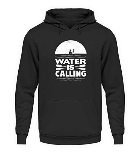 EBENBLATT Water is Calling Kajak Kanu Segler Geschenk - Unisex Kapuzenpullover Hoodie -L-Jet Schwarz
