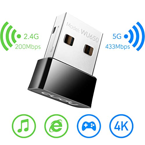 Cudy 650Mbps USB WiFi AC Adapter, AC650 Dual Band 5GHz / 2.4GHz Wireless Adapter for PC/Desktop/Laptop - Nano Size, Compatible with Windows XP/7/8/8.1/10, Mac OS 10.6~10.11