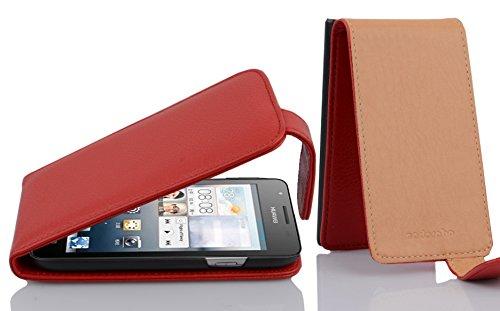 Cadorabo Hülle für Huawei Ascend G525 / G520 in Inferno ROT - Handyhülle im Flip Design aus Strukturiertem Kunstleder - Hülle Cover Schutzhülle Etui Tasche Book Klapp Style