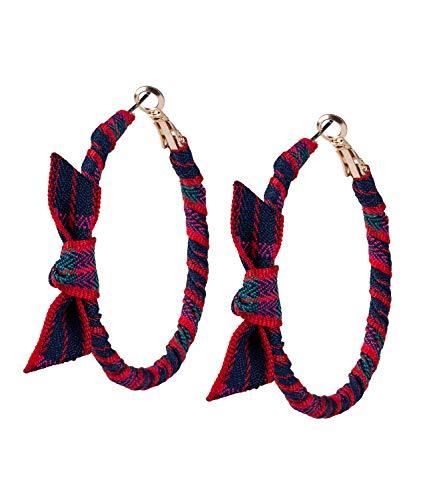 SIX Damen Ohrringe, Creolen umzogen mit gestreiften Stoff und verziert mit einer Schleife, Karomuster, gold, rot, grün, blau (784-181)