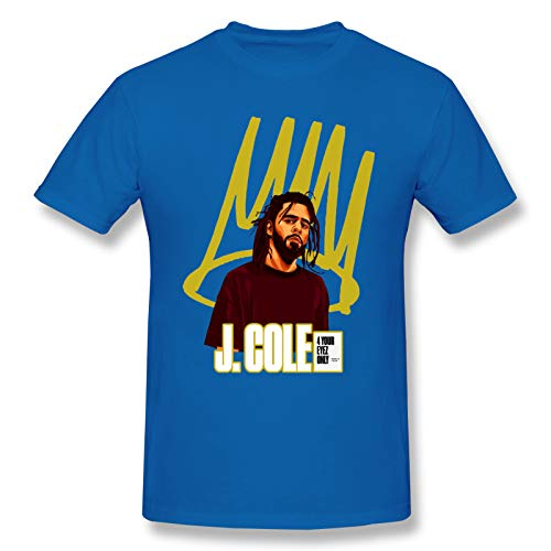 AJY J.Cole-3 Men's Basic Short Sleeve T-Shirt Blue 3X-Large