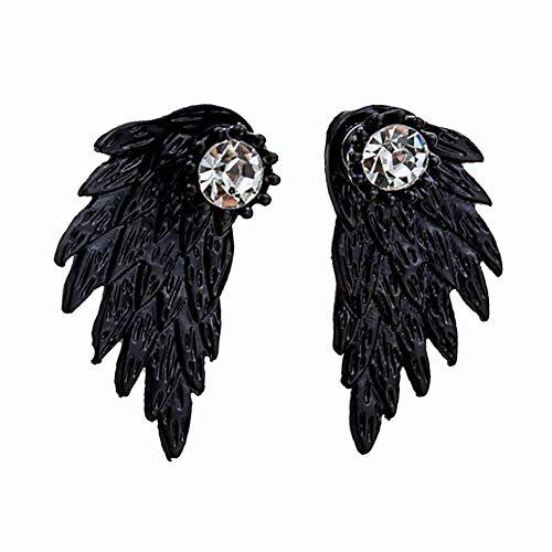 HTMSR Damen Herren Flügel Ohrringe Engelsflügel Gothic Feder Form Kristall Ohrstecker Modeschmuck Party Nachtclub Schwarz