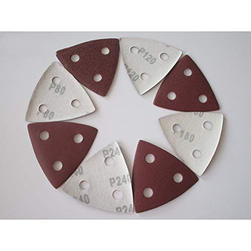 MKDLB Schleifpapier 40 Stück Dreieckschleifpapier Schleifkissen Blätter mit 3 Löchern 80/120/180/240 Körnungen Beflockung zum Schleifen von Schleifwerkzeugen